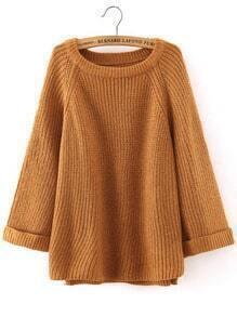 Khaki Round Neck Long Sleeve Loose Sweater