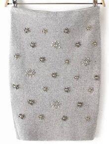 Grey Bead Slim Skirt