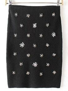 Black Bead Slim Skirt