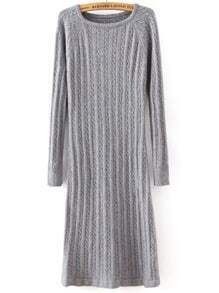 Grey Round Neck Cable Knit Split Dress