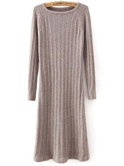 Coffee Round Neck Cable Knit Split Dress