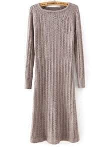 Coffee Round Neck Cable Knit Split Dress