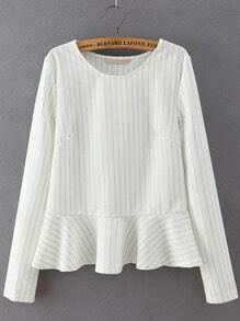 White Round Neck Striped Ruffle Crop Blouse