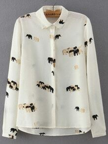 Beige Lapel Long Sleeve Elephant Print Blouse
