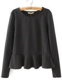 Black Round Neck Striped Ruffle Crop Blouse