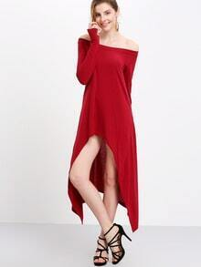 Burgundy Asymmetrical Neck And Hem Jersey Dress