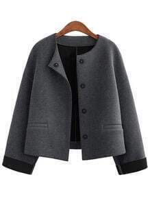 Women Grey Pocket Car Coat