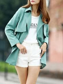 Mint Green Lapel Wrapped Trench Coat