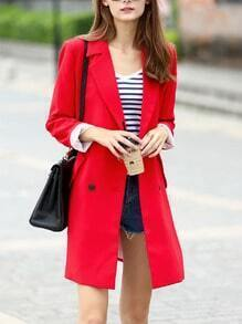 Women Red Lapel Reefer Coat