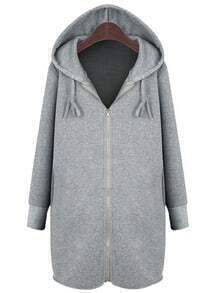 Grey Zipper Front Drawstring Hooded Coat