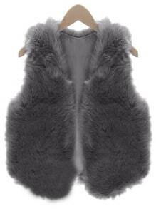 Women Grey Faux Fur Vest