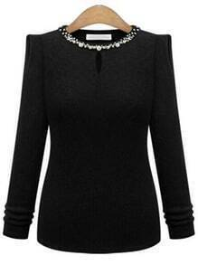 Black Beaded Neck Keyhole Front Ribbed Sweater
