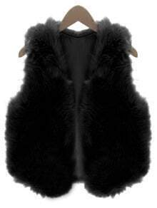 Women Black Faux Fur Vest