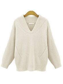 White V Neck Chunky Ribbed Sweater