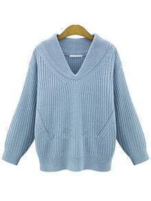 Blue V Neck Chunky Ribbed Sweater