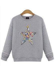 Grey Colorful Star Print Sweatshirt