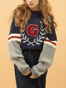 Navy Blue G Print Splicing Half Knitted Sleeve Sweatshirt