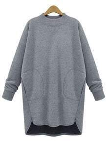 Grey Crew Neck Pocket Dip Hem Oversized Sweatshirt