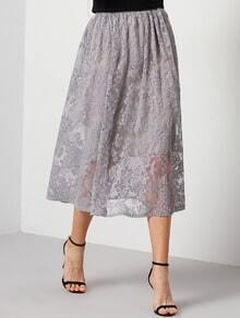 Purple Lace Pleated Skirt