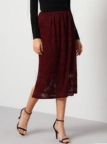 Red Lace Pleated Skirt