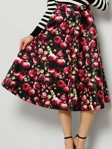 Colour Floral PU Long Skirt