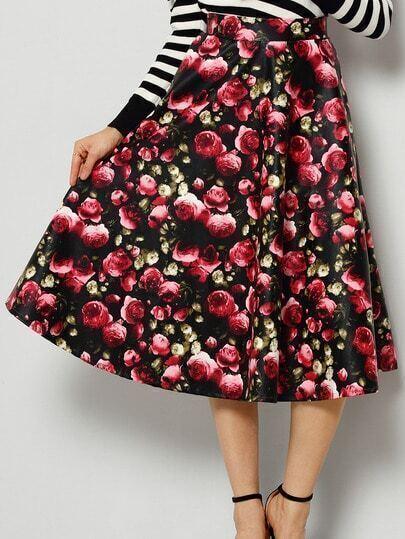 Colour Floral PU Long Skirt
