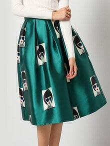 Green Beauty Print Flare Skirt