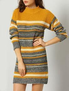 Yellow Grey Mock Neck Striped Sweater Dress