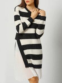Black White Striped Contrast Chiffon Dress