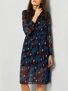 Blue Red Contrast Collar Geometric Print Dress