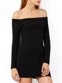 Black Off the Shoulder Slim Bodycon Dress