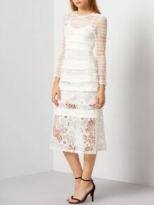 White Long Sleeve Hollow Lace Two Pieces Dress