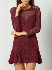 Burgundy Round Neck Sheer Lace Ruffle Dress
