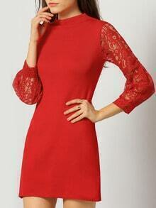 Red Lace Hollow Long Sleeve Slim Dress
