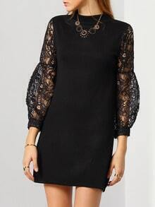 Black Lace Hollow Long Sleeve Slim Dress