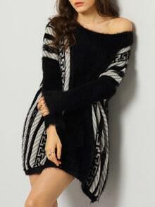 Black Batwing Sleeve Striped Loose Sweater Dress