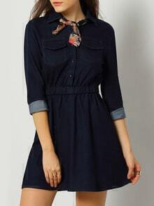 Navy Lapel Pockets Buttons Denim Dress