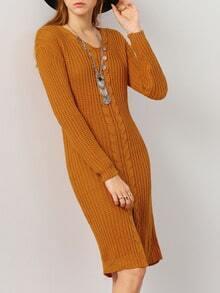 Khaki V Neck Long Sleeve Split Sweater Dress