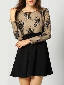 Black Long Sleeve Sheer Mesh Lace Dress