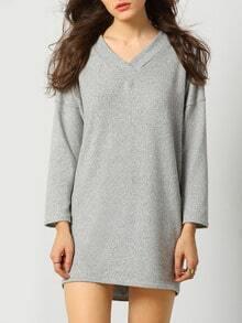Grey V Neck Lace Up Back Dress