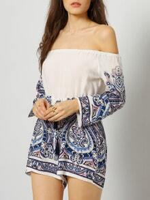 Blue White Off the Shoulder Floral Jumpsuit