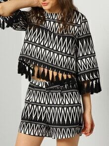 Black White Geometric Print Tassel Top With Shorts