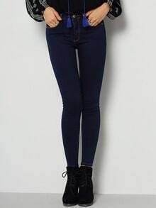 Navy Skinny Pockets Denim Pant