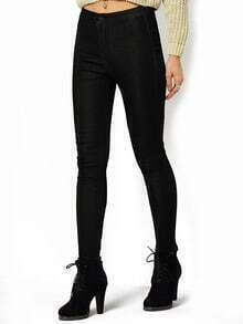 Black Skinny Button Pant