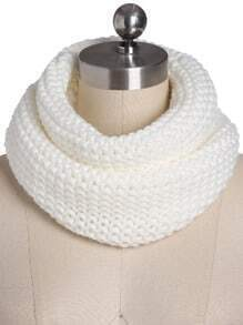 White Casual Knit Scarve