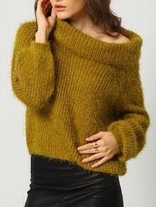 Army Green High Neck Loose Crop Sweater