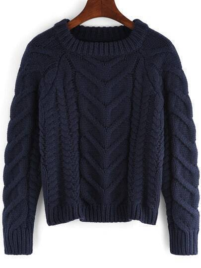 Royal Blue Round Neck Cable Knit Crop Sweater