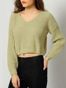 Green V Neck Long Sleeve Crop Sweater