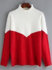 Red White Mock Neck Loose Sweater