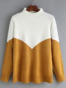 Yellow White Mock Neck Loose Sweater